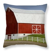 Big Red Barn In West Michigan Throw Pillow
