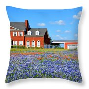 Big Red House On Bluebonnet Hill Throw Pillow