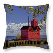 Big Red Lighthouse By Holland Michigan No.0255 Throw Pillow