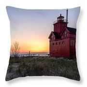 Big Red Lighthouse Throw Pillow