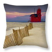 Big Red Lighthouse With Sand Fence At Ottawa Beach Throw Pillow