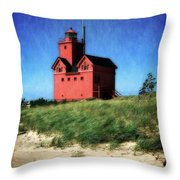Big Red With Flag Throw Pillow by Michelle Calkins