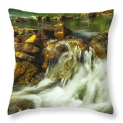 Big River  Waterfall And Dam Throw Pillow