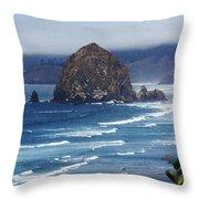 Big Rock On The Oregon Coast Throw Pillow
