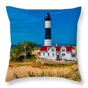 Big Sable Light On The Shore Throw Pillow