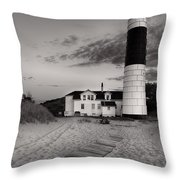 Big Sable Point Lighthouse In Black And White Throw Pillow