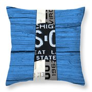 Big Sable Point Lighthouse Michigan Great Lakes License Plate Art Throw Pillow