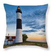 Big Sable Point Lighthouse Sunset Throw Pillow
