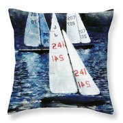 Big Sailors And Little Boats Throw Pillow