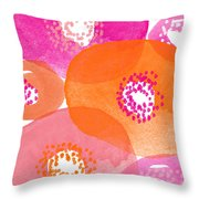 Big Spring Flowers- Contemporary Watercolor Painting Throw Pillow