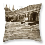 Big Storm Waves At Santa Cruz Beach And Casino And Beach Ca Circa 1925 Throw Pillow
