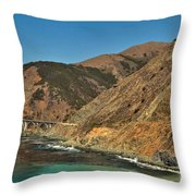 Big Sur And The Bridge Throw Pillow by Adam Jewell