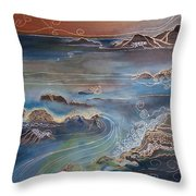 Big Sur In Sunset Throw Pillow