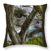 Big Sur Mc Way Falls At Julia Pfeiffer State Park-1 Central California Coast Spring Early Afternoon Throw Pillow