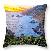 Big Sur Sunset Throw Pillow