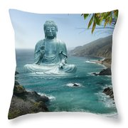 Big Sur Tea Garden Buddha Throw Pillow by Alixandra Mullins