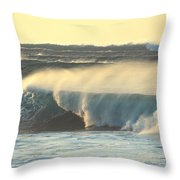 Big Surf At Sunset Throw Pillow