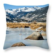 Big Thompson River Through Moraine Park In Rocky Mountain National Park Throw Pillow