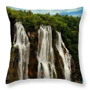 Big Water Fall Croatia Throw Pillow