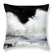 Big Waves Breaking On Breakwater Throw Pillow