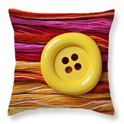 Big Yellow Button  Throw Pillow