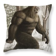 Bigfoot Throw Pillow by Spencer Sutton