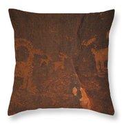 Bighorn Sheep Petroglyph Zion National Park Throw Pillow