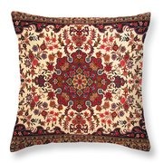Bijar Red And Khaki Silk Carpet Persian Art Throw Pillow