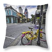 Bike And 3 Georges In Mobile Alabama Throw Pillow