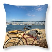 Bike And A Brdige Throw Pillow