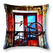 Bike In The Balcony Throw Pillow