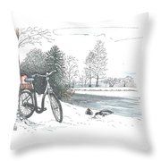 Bike In The Snow Throw Pillow