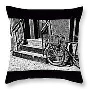 Bike In The Sun Black And White Throw Pillow