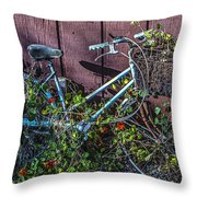 Bike In The Vines Throw Pillow