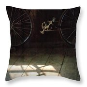 Bike Light And Shadow In Barn Throw Pillow