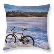 Bike On Frozen Lake Laberge Yukon Canada Throw Pillow