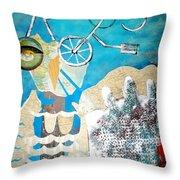 Bike Owl Throw Pillow by Amy Sorrell