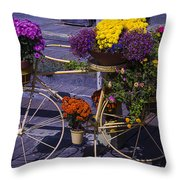 Bike Planter Throw Pillow