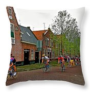 Bike Race On Orange Day In Enkhuizen-netherlands Throw Pillow