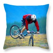 Bike Stunt Throw Pillow