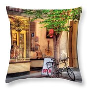 Bike - The Music Store Throw Pillow