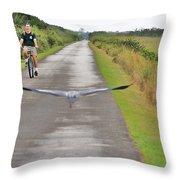 Biker And The Bird Throw Pillow