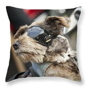 Biker Dog Throw Pillow