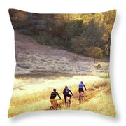 Bikers On Foresthill Divide Trail Throw Pillow