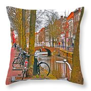 Bikes And Canals Throw Pillow