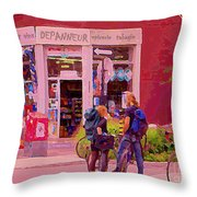 Bikes Backpacks And Cold Beer At The Local Corner Depanneur Montreal Summer City Scene  Throw Pillow
