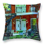 Bikes Balconies Brick Houses Flower Boxes Verdun Duplex Stairs Summer Scenes Carole Spandau Throw Pillow