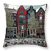 Bikes Everywhere In Amsterdam-netherlands Throw Pillow