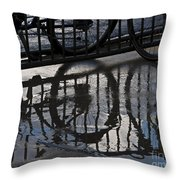 Bikes In The Rain Throw Pillow