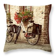 Bikes In The School Yard Throw Pillow